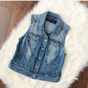 Express | Blue Jean Lightly Distressed Vest Top